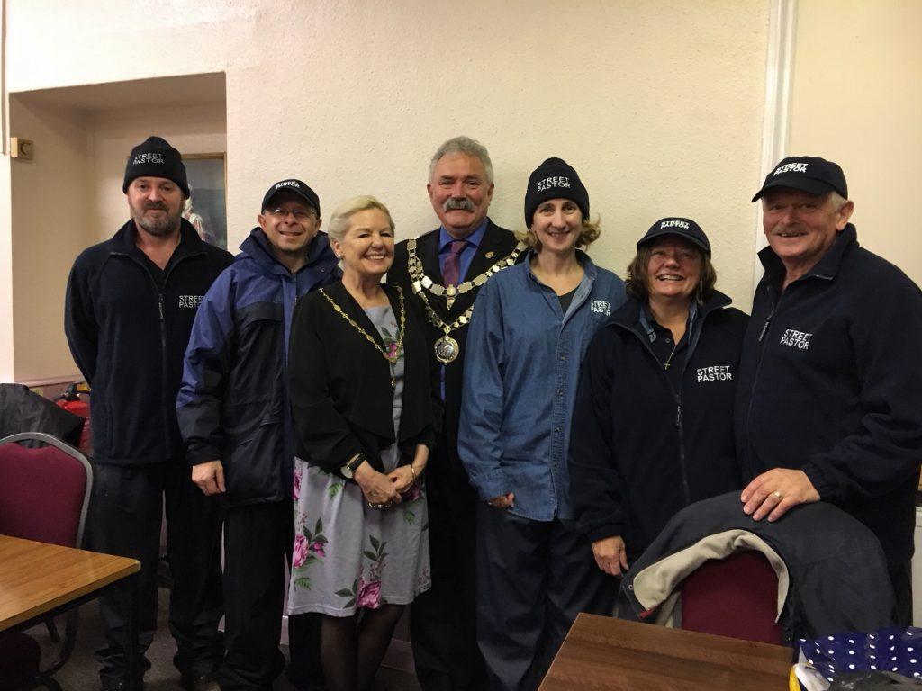 Okehampton Street Pastors with the Mayor of West Devon at Okehampton